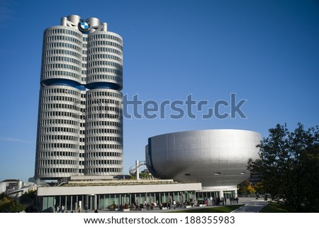 MUNICH, GERMANY - OCT12: BMW building museum on October 12, 2013, Munich, Germany. The BMW Museum is located near the Olympiapark and was established in 1972 shortly before the Summer Olympics  - stock photo
