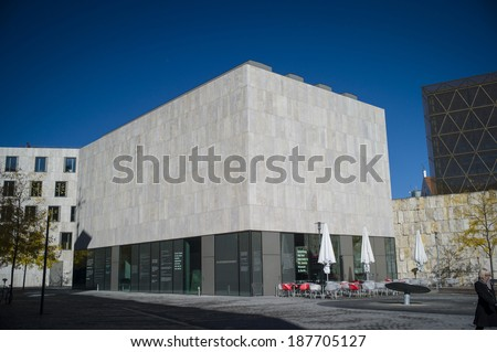 MUNICH, GERMANY - OCT 17: The jewish synagogue in downtown Munich, Germany on October 17 2013. It was opened in Nov 2006 and was built in a modern design. - stock photo