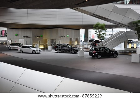 MUNICH, GERMANY - OCTOBER 31: BMW Motor Show on October 31, 2011 in BMW Welt in Munich - stock photo