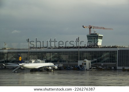 Munich, Germany - October 16: One side of Lufthansa parking apron in Munich,Lufthansa  airline is the most important airline in Germany on  October 16, 2014 - stock photo