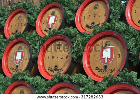 MUNICH, GERMANY - SEPT. 21, 2014:  Traditional Spatenbrau Beer Carriage at the 181st Oktoberfest celebrating the festivities. The Festival runs from Sept. 20 - Oct. 5  in Munich, Germany - stock photo