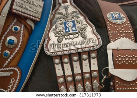 MUNICH, GERMANY - SEPTEMBER 20, 2008:  Grand entry of the Oktoberfest landlords and breweries.  This is the official prelude to the opening of the Oktoberfest in Munich, Germany. - stock photo