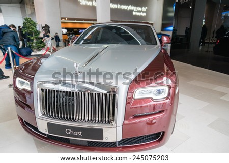 MUNICH - JANUARY 5: Rolls Royce Ghost II display in BMW Welt on January 5, 2015 in Munich, Germany - stock photo