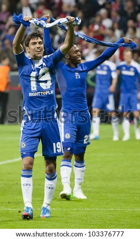 MUNICH-MAY 19 :Celebration of Chelsea's win: Ferreira (L ) and Sturridge after FC Bayern Munich vs. Chelsea FC UEFA Champions League Final game at Allianz Arena on May 19, 2012 in Munich, Germany. - stock photo