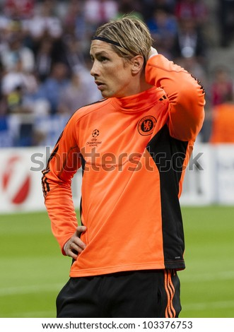 MUNICH-MAY 19 :Fernando Torres of Chelsea before FC Bayern Munich vs. Chelsea FC UEFA Champions League Final game at Allianz Arena on May 19, 2012 in Munich, Germany. - stock photo