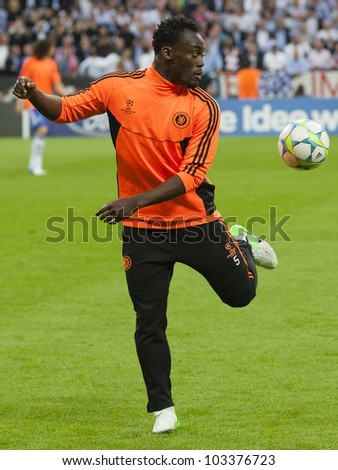 MUNICH-MAY 19 :Michael Essien of Chelsea before FC Bayern Munich vs. Chelsea FC UEFA Champions League Final game at Allianz Arena on May 19, 2012 in Munich, Germany. - stock photo