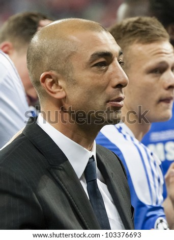 MUNICH-MAY 19 :Roberto di Matteo, assistant manager of Chelsea after FC Bayern Munich vs. Chelsea FC UEFA Champions League Final game at Allianz Arena on May 19, 2012 in Munich, Germany. - stock photo