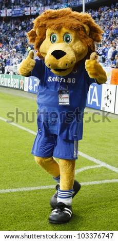 MUNICH-MAY 19 :The Lion of Chelsea before FC Bayern Munich vs. Chelsea FC UEFA Champions League Final game at Allianz Arena on May 19, 2012 in Munich, Germany. - stock photo