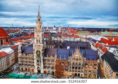 MUNICH - NOVEMBER 30: Aerial view of Marienplatz on November 30, 2015 in Munich. It's the 3rd largest city in Germany, after Berlin and Hamburg, with a population of around 1.5 million. - stock photo