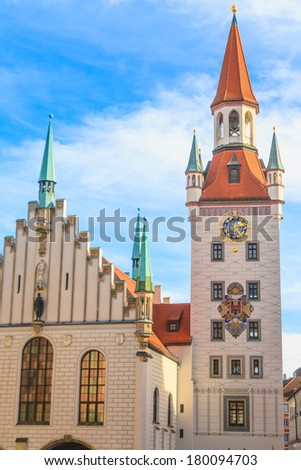 Munich, Old Town Hall with Tower, Bavaria, Germany - stock photo