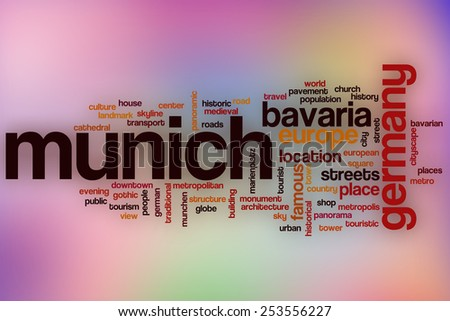 Munich word cloud concept with abstract background - stock photo