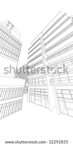 municipal buildings, black and white style - stock photo