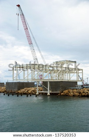 Municipal construction of a new port in Cyprus on October 2012 - stock photo