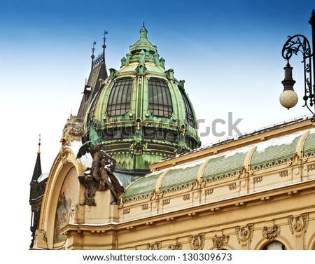 Municipal House and Powder Gate in Prague, Czech Republic - stock photo