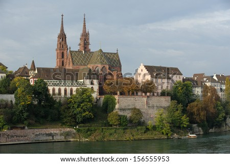 munster cathedral in basel switzerland - stock photo
