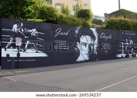 mural dedicated to Jack Doyle an Irish boxing champion - stock photo