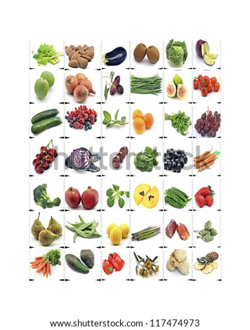 Mural of fruits and vegetables surrounded by white background - stock photo