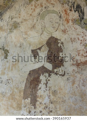 Mural thai style painting art old about buddha story on temple wall - stock photo
