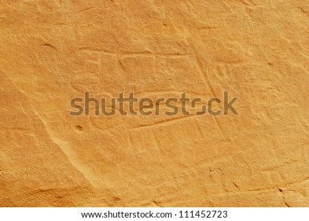 Murals rock curving painting in Timna Park, Israel. - stock photo