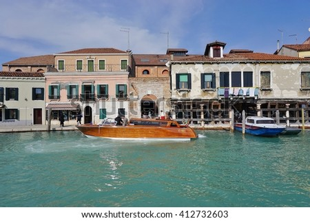 MURANO, ITALY -10 MARCH 2016- Located in the Venetian Laguna, the island archipelago of Murano near Venice is famous for its glass making. - stock photo