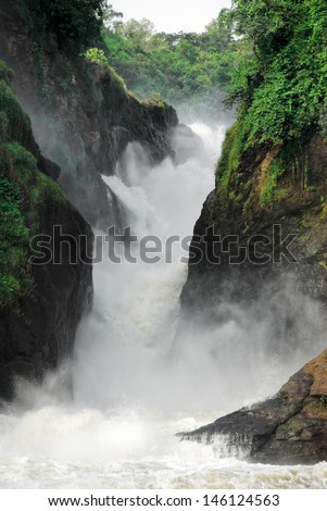 Murchison Falls on the Victoria Nile, northern Uganda - stock photo