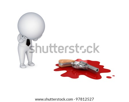 Murder concept.Isolated on white background.3d rendered. - stock photo
