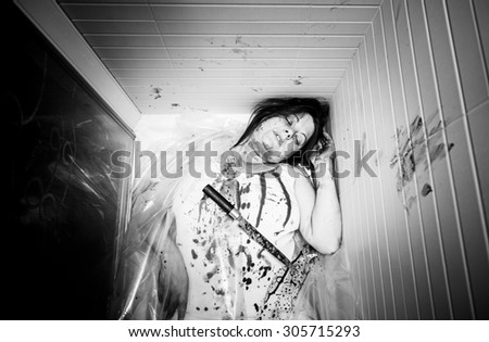 Murder in the hot battered woman, violence - stock photo