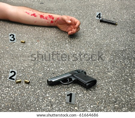 Murder - place of shooting - stock photo