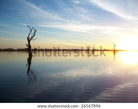 Murray River Sunset - stock photo