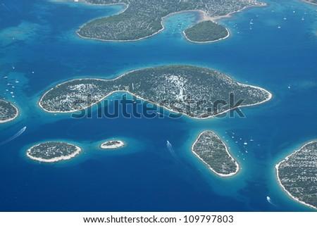 Murter islands in Croatia, Adriatic sea - aerial view - stock photo