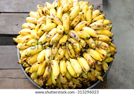Musa sapientum Linn. or cultivated banana cleaning and arrangement for lunch - stock photo