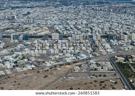 muscat oman sultanate aerial view - stock photo