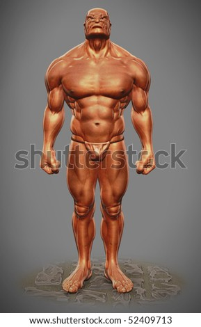 muscle man figure front view - stock photo
