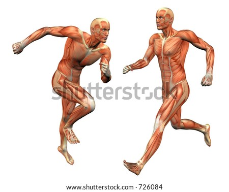 muscle man posing w/ clipping mask - stock photo