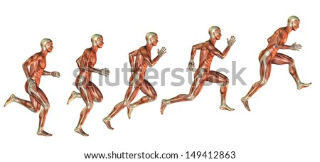Muscle study of man in the approach to the jump - stock photo