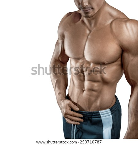 Muscular and fit young bodybuilder fitness male model isolated on white background - stock photo