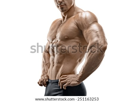 Muscular and fit young fitness male model isolated on white background - stock photo