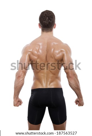 muscular back man isolated on white - stock photo