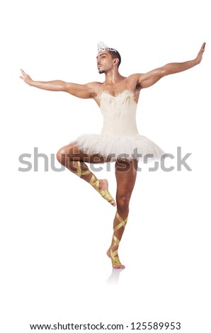 Muscular ballet performer in funny concept - stock photo