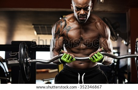 Muscular body builder working out at the gym  - stock photo