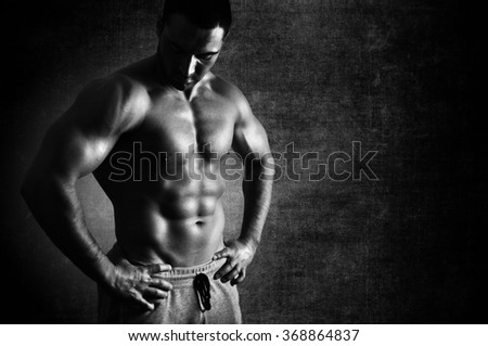 Muscular body perfection  Black and White. - stock photo