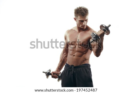 Muscular bodybuilder man doing exercises with dumbbells isolated over white background  - stock photo