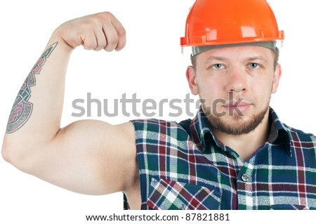 Muscular caucasian manual worker demonstrating his biceps, isolated over white - stock photo