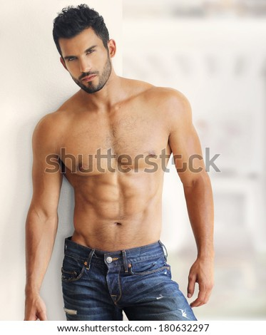 Muscular handsome sexy guy - stock photo
