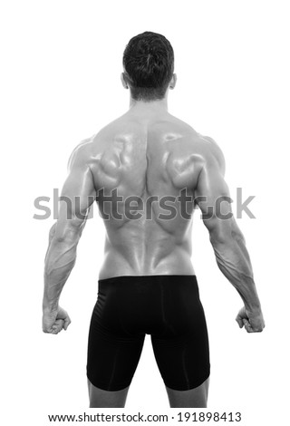 muscular male back isolated on white - stock photo