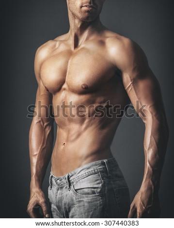 Muscular Male Body - stock photo