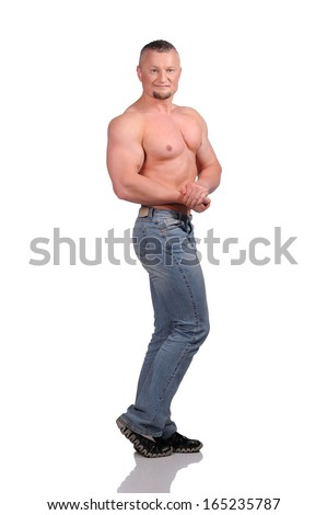 Muscular male body isolated on white background - stock photo