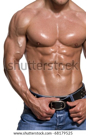 Muscular male body isolated on white background. - stock photo