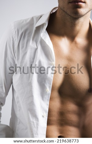 Muscular Male Torso with shirt - stock photo