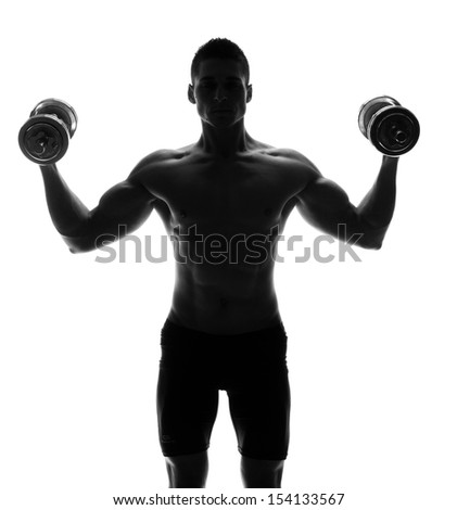 Muscular man isolated on white - stock photo
